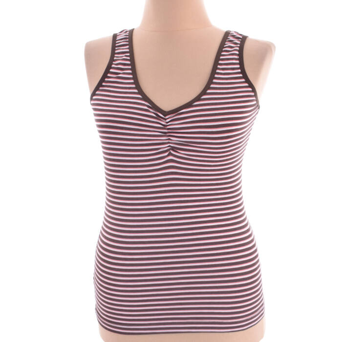 Barna-piros-fehér színű csíkos Gina Benotti trikó (Méret  M) eeff269f85