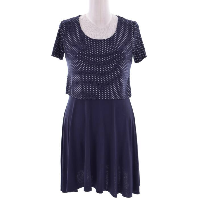 REDHERRING kék színű fehér pöttyös rövid ujjú ruha (Méret  M) d94458c8e5